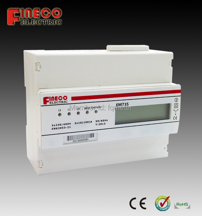 EM735 3 phase 4 wire meter 3phase kwh meter electric energy meters for rail with pulse output(China (Mainland))