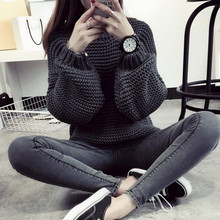 Women Korean Sweater Thick Coarse Wool Knitted Tops Fashion Casual For Autumn Winter Knitted Pullover(China (Mainland))