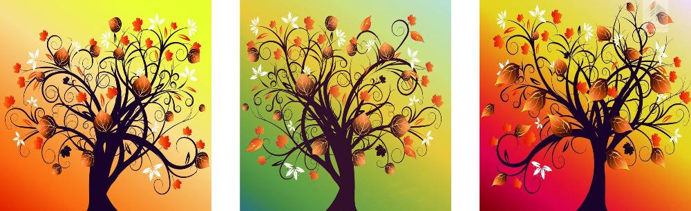 money tree 3 sets diamond painting 100% Full square drill diy diamond painting 3d cross stitch embroidery decoration painting
