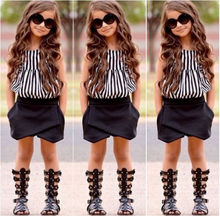 Hot Baby Kids Girls Summer Striped Tops Blouse Black Bloomers Shorts Outfits set(China (Mainland))