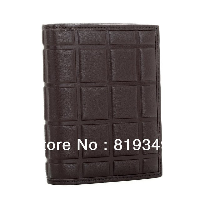 2013 NEW Fashion VANCL Men Cool Embossed Vertical Leather Wallet Chocolate Shape Horizontal Short Design Coffee FREE SHIPPING