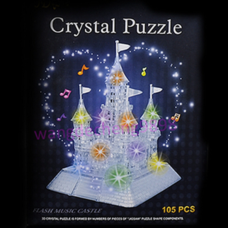 3D Castle IQ Toy Music Flash Crystal Puzzle Jigsaw Model Home DIY Toys Town Better Decoration With Retail Box(China (Mainland))
