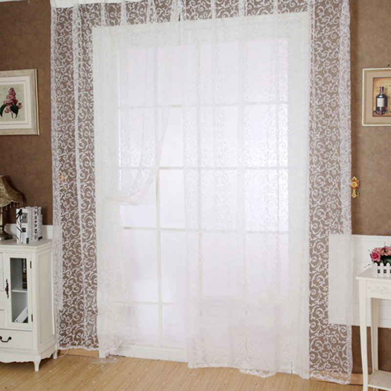 Flocking Floral Pattern Tulle Voile Door Window Curtain cortinas for living room blackout curtains 1M*2M 4 Colors(China (Mainland))
