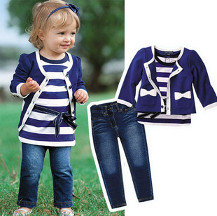 baby girl sets three-piece dress(top+t shirt+jeans) 5sizes,child clothes set,infant tee shirt+coat+jeans