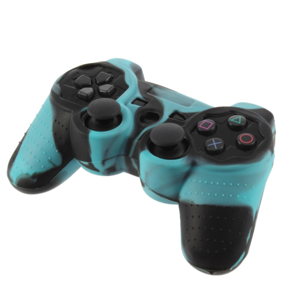 Blue + Black Silicone Skin Case Cover for PS2 Controller Hot New(China (Mainland))