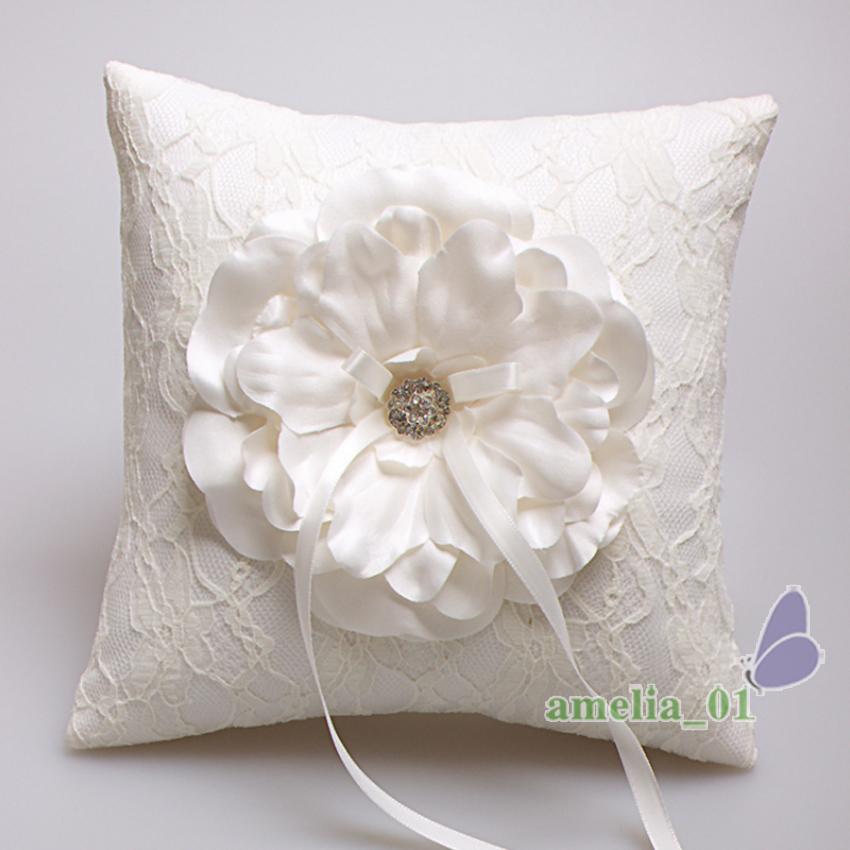 Wedding Lace Ring Pillow Cushion Crystal Rhinestone Satin Flower Wedding Bridal Shower Engagement Bearer Flower Cushion Pillow(China (Mainland))