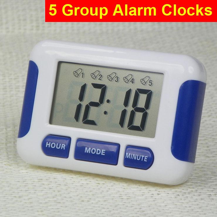 Reloj despertador 5 grupos Noisy campana 12/24 horas de cuenta regresiva cocina hogar laboratorio biblioteca laboratorio drogas Kitchen temporizador de tiempo(China (Mainland))