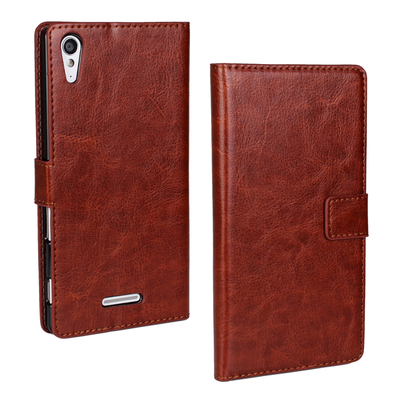 Luxury Wallet Flip Leather Case for Sony Xperia T3 PU Leather Wallet for Sony Xperia T3 M50W phone Cases(China (Mainland))