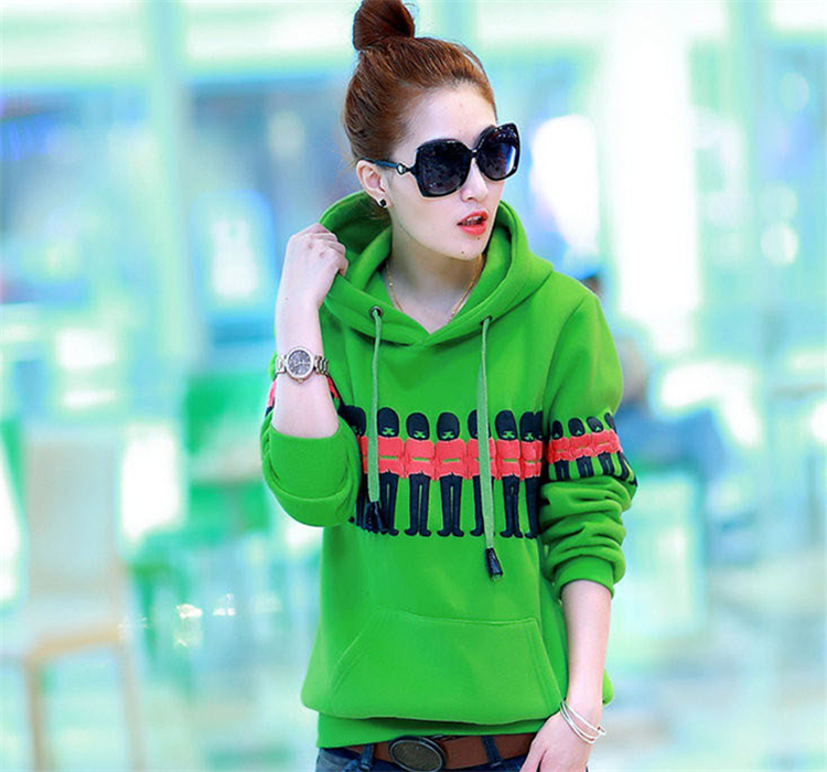 Autumn&Winter Popular Winter Quality Coat Large Code Loose Thickening Stereo Villain Printed Brief Hooded Coat Green HN14112806(China (Mainland))