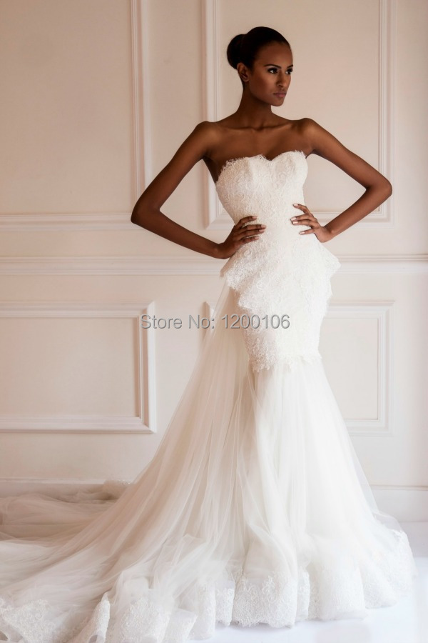 Wedding Dresses  Aliexpress : Bridal gown with appliques bow white tulle mermaid vintage wedding