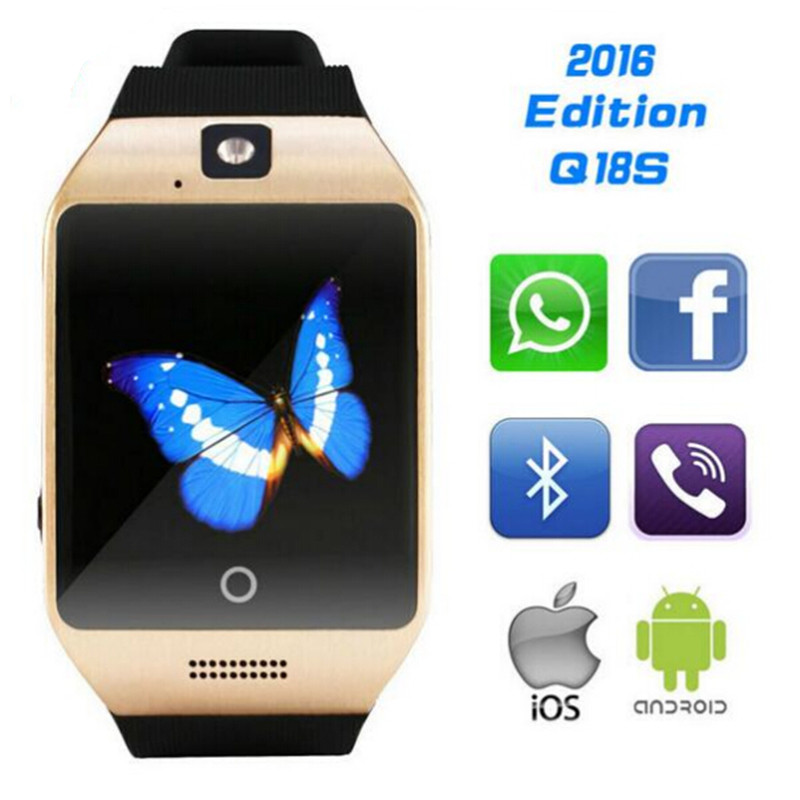 2016 Q18S Smart Watch with Touchscreen Bluetooth TF card camera smartwatch for Android and IOS Phone NFC support pK DZ09 GT08(China (Mainland))