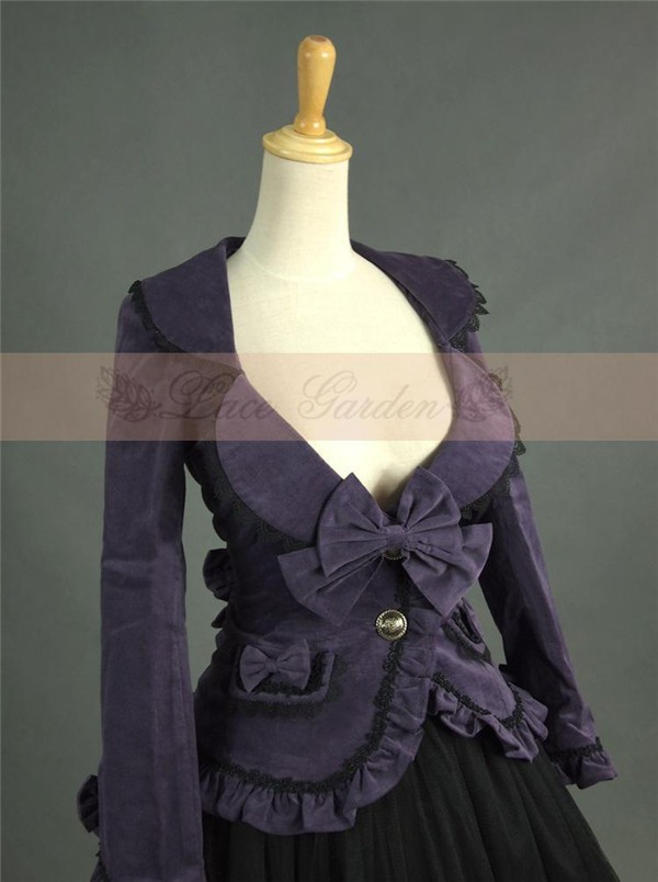 Lolita Gothic Barbie Palace Retro Falbala Velveteen Golilla Suit Coat Dress Skirt Free Shipping