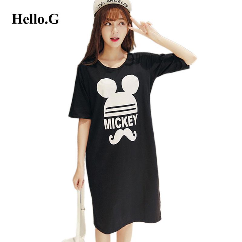 Korean Large Size 2016 Open Fork Summer Black Dress Ladies Cartoon Print Sports Dresses Loose Casual Maxi Dress For Women(China (Mainland))