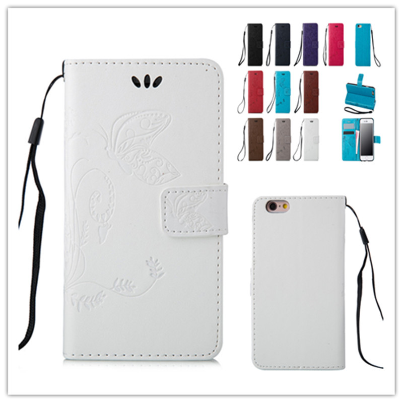 Retro Embossing Magnetic Butterfly Pattern Leather Case For iPhone 6 Plus 6s Plus Back Cover Flip Shell Stand Wallet Holder(China (Mainland))