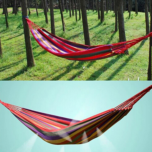 2015 Portable Cotton Rope Fabric Canvas Travel Outdoor Swing Camping Hanging Hammock Hangmat<br><br>Aliexpress