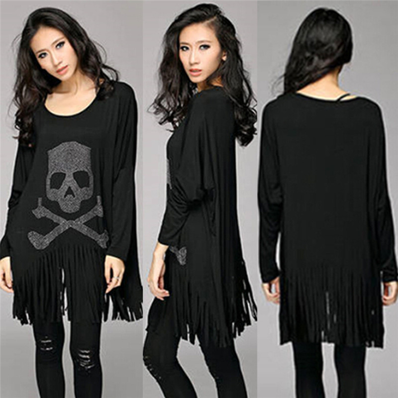 Punk Rock loose tassel tops batwing long sleeve skull heads print women T shirt fashion Europe Fashion casual style New Quality(China (Mainland))