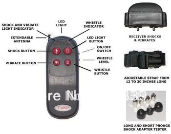 free shipping 4in1 Remote Small/Med Dog Training Shock+Vibrate Collar
