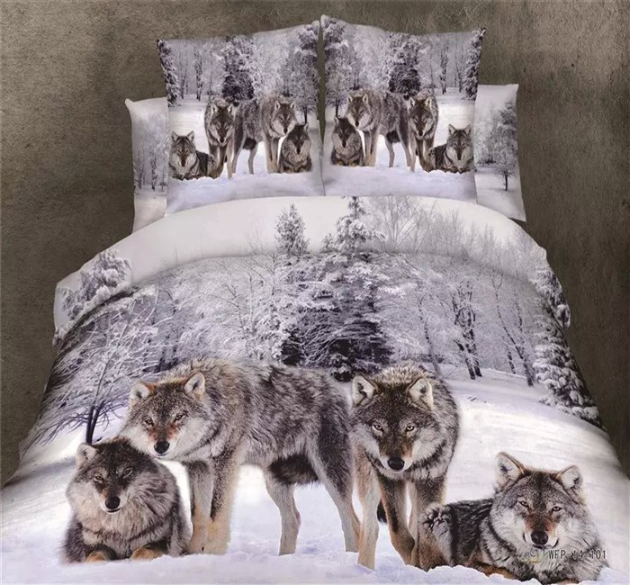 100% cotton luxury queen size 3d bed set bedding set /bedclothes Animal Lion tiger wolf leopard printed duvet cover bedspread(China (Mainland))