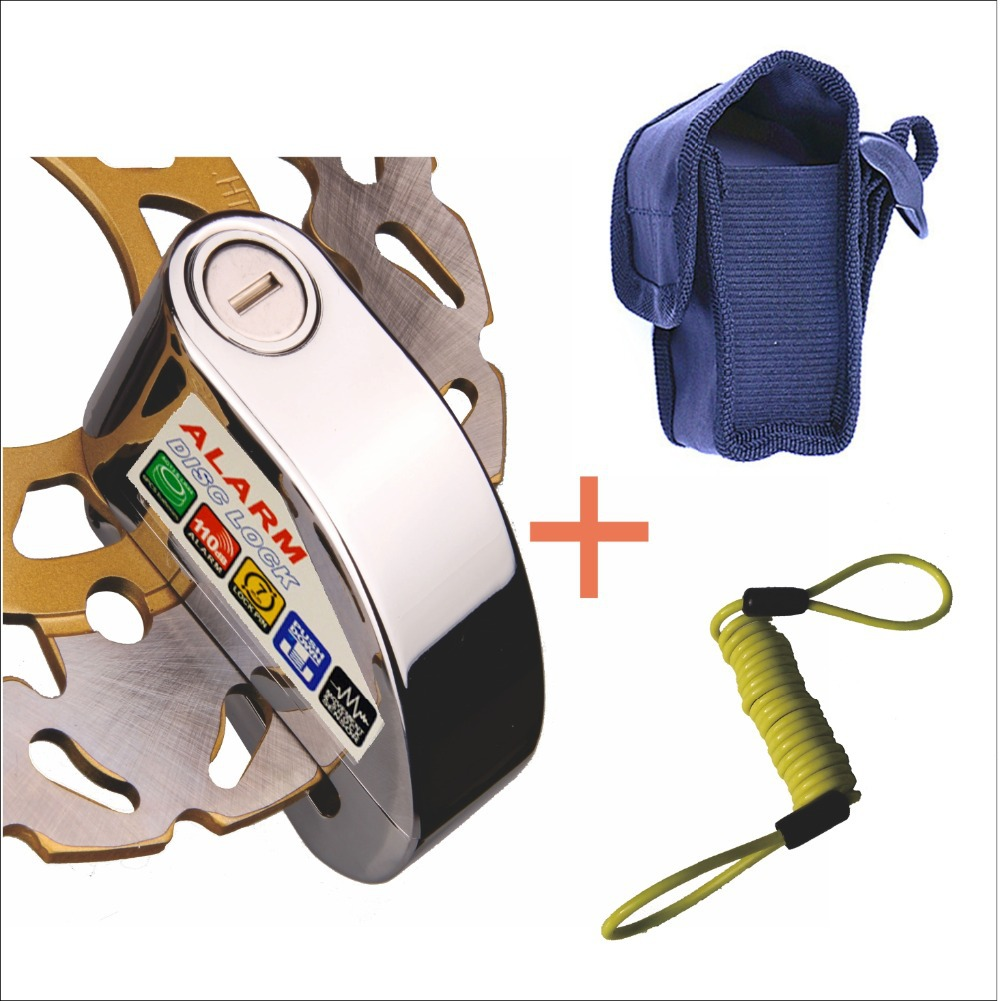 7mm Pin Silver Security Anti Thief Motorbike Motorcycle Scooter Wheel Disc Brake alarm lock with bag&reminder cable FreeShipping(China (Mainland))