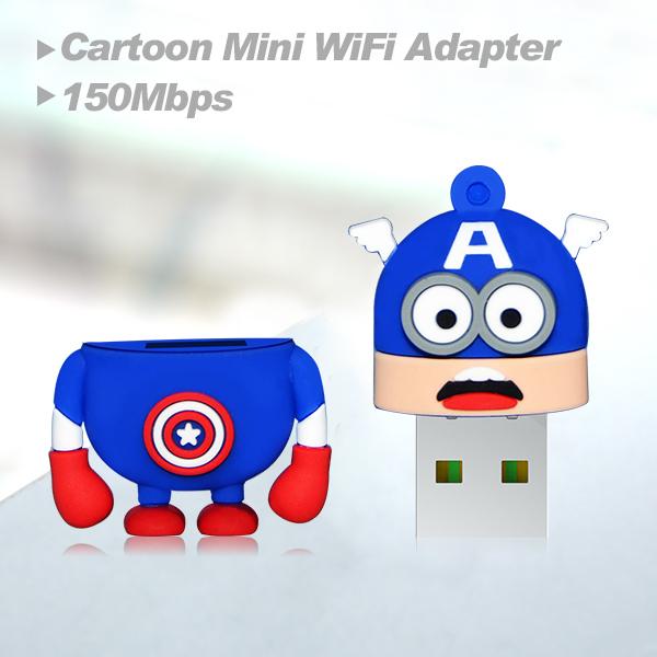 Lowest price network card comfast cartoon mini wifi adapter CF-WU810N-CA wifi chipset RTL 8188EUS wireless wifi dongle(China (Mainland))