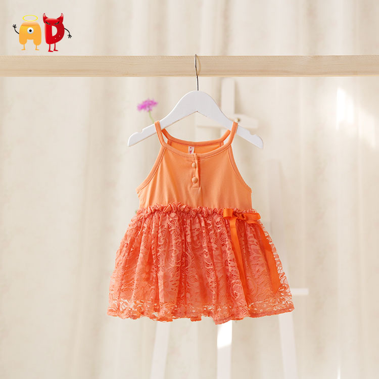 AD Cute Baby Girls Dresses Fancy Sleeveless Lace SUMMER