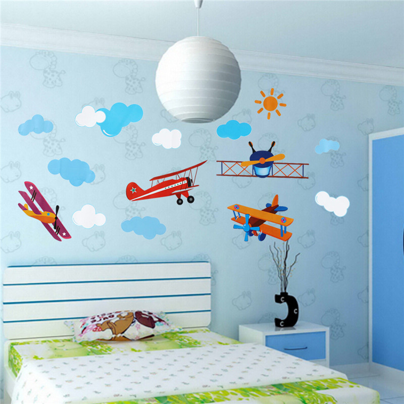 DIY PVC Cute Four Air Planes Multicolor Room Decal Home Decor Kids Bedroom Decoration Art Wall Sticker(China (Mainland))