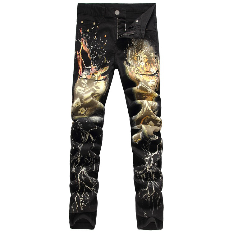 Lightning Tiger Printed Jeans Men Slim Pencil Jeans 2015 Fashion Men's Elastic Jeans Long Pants Casual Trousers Large Size 29-38(China (Mainland))