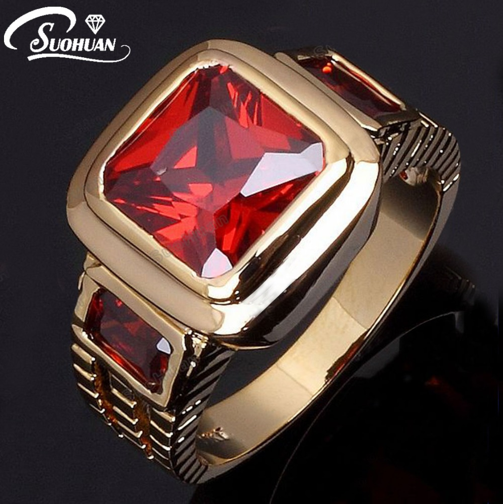 Wholesale Fashion Ruby Jewelry Male Super Red Garnet Men rings 18 K Gold Filled Ring for men Gift R048(China (Mainland))