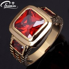 Wholesale Fashion Ruby Jewelry Male Super Red Garnet Men rings 18K  Gold Filled Ring for men Gift free shipping R048(China (Mainland))