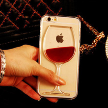 New Hot Sale Liquid Quicksand Red Wine Clear Transparent Phone Case hard back Cover for iPhone 4S/ 5C / 5S / 6 /6S/6Plus/6S Plus(China (Mainland))