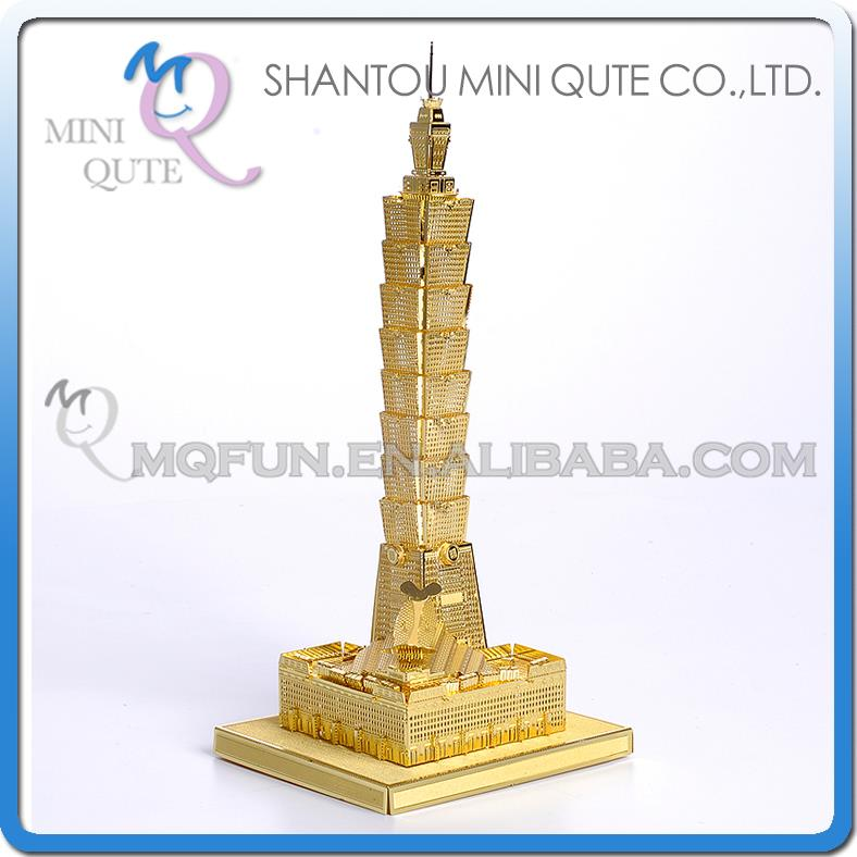 Mini Qute 3D Metal Puzzle Golden Taipei 101 world architecture building Adult model educational toys gift NO.P011-G - Russian & Brazil Toy Store store