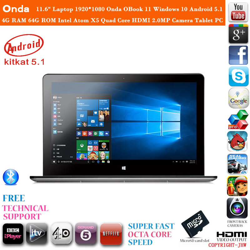 Original 11.6 Inch Onda Obook 11 OS Windows 10 Laptop Tablet PC 4GB RAM 64GB ROM IntelAtom X5 Quad Core HDMI 1920*1080 8000mAh(China (Mainland))