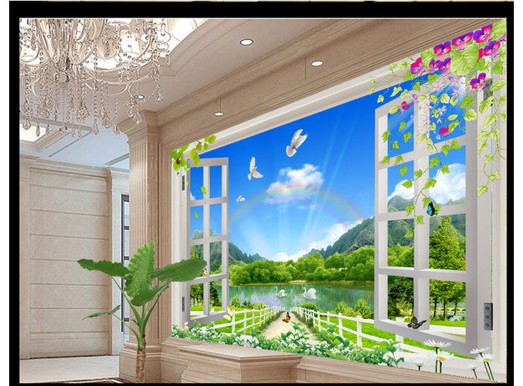 customized 3d wallpaper 3d wall murals wallpaper nature landscape 3d. Black Bedroom Furniture Sets. Home Design Ideas