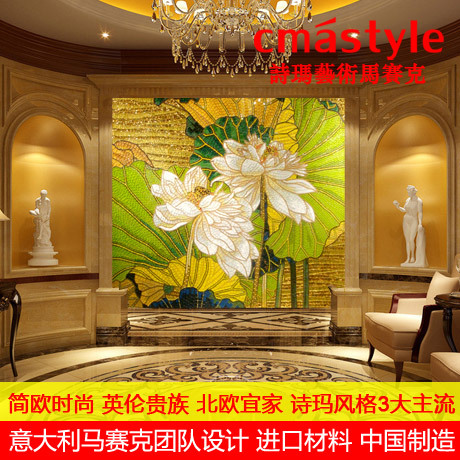 Crystal decoration materials out of gold mosaic bathroom waist tile facades Collectibles TV wall puzzle cut painting(China (Mainland))
