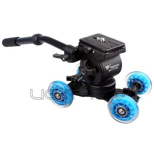 Blue DSLR Skater Wheel Camera Truck Top Dolly Kit 18lbs +Video Tripod Action EI-717AH Fluid Drag Head Kit<br><br>Aliexpress