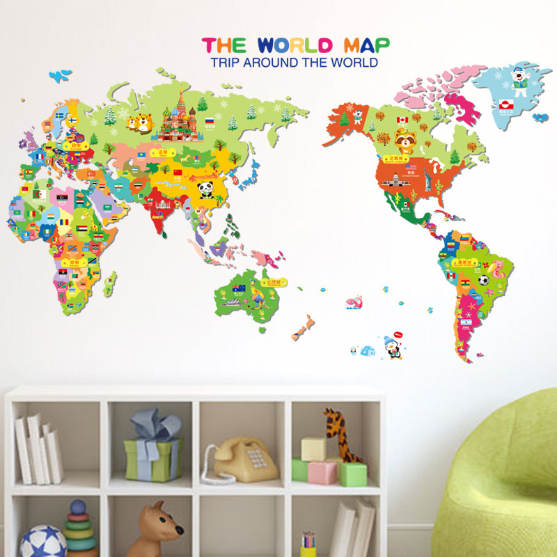 New creative cartoon world map wall sticker diy home decoration stickers living room bedroom background wall decorative stickers(China (Mainland))