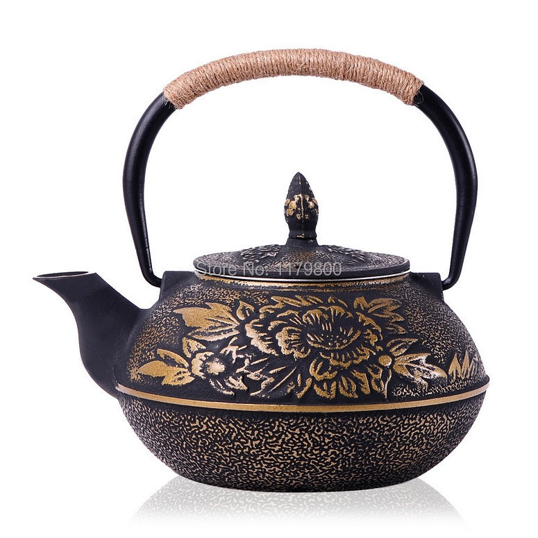 Japanese style cast iron kettle tetsubin teapot with strainer 900ml capacity flower in water - Japanese teapot with strainer ...