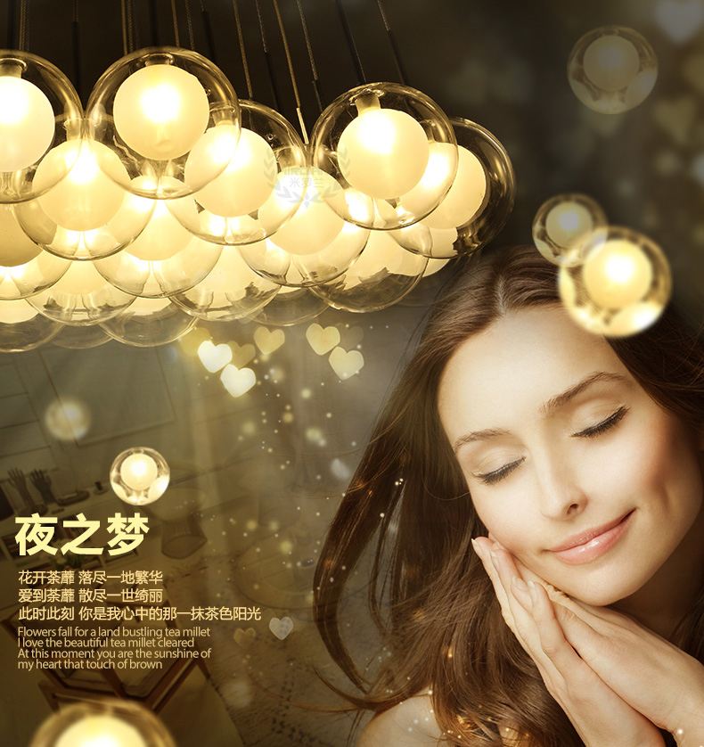 2015 Creative Glass Bubble Led Chandelier European Modern Simple LED Chandelier(China (Mainland))