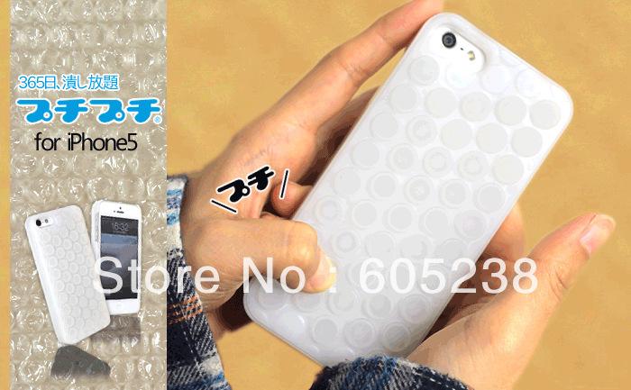 2013 Hot Sale 2pcs/lot  4Colours Puchi Bubble Wrap Case For iPhone5 Can Make U High