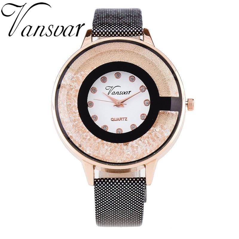 2016 Fashion Watch Women Crystal Diamond Rhinestone Quartz Watch Ladies Dress Quartz Wrist Watch Clock Relogio Feminino V15