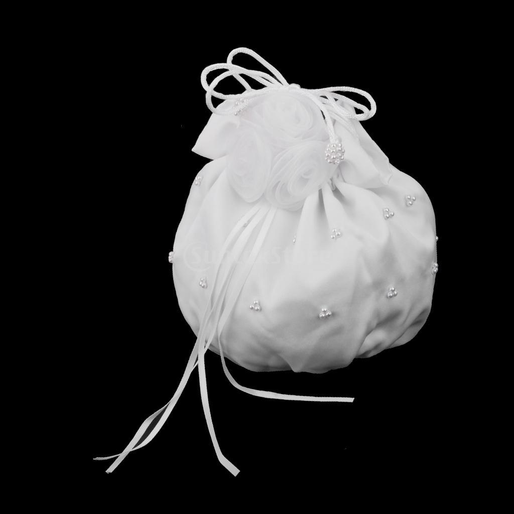 White Dolly Bridal Wedding Satin Bag Flower Girl Handbag Wedding Party Gift(China (Mainland))
