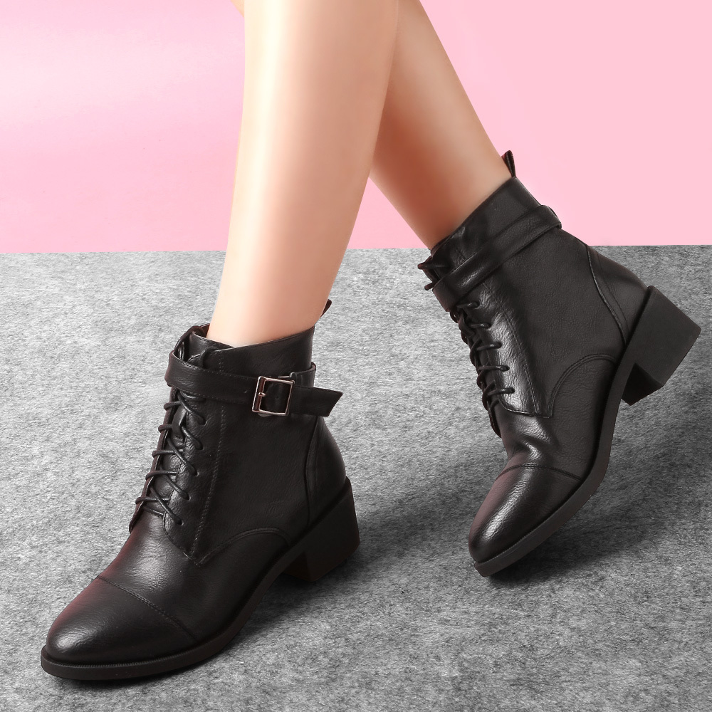 New spring womens fashion boots female flat black shoes ladies ankle boot Mixed PU leather brand high quality women shoe 4<br><br>Aliexpress