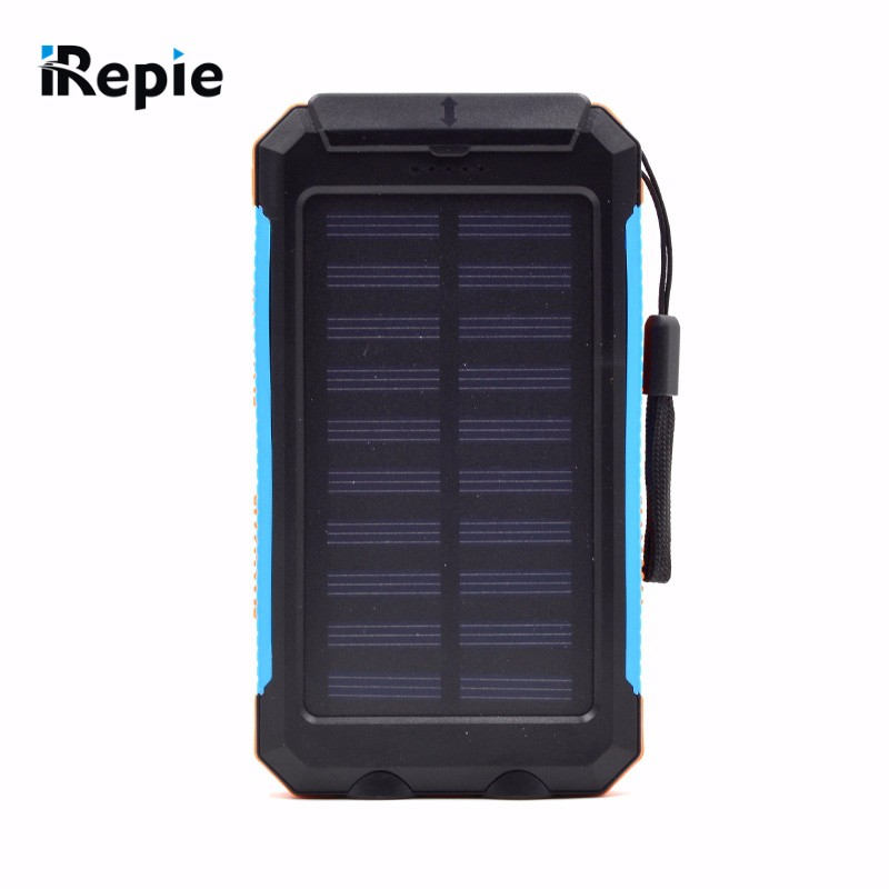 New Portable 10000mAh Solar Power Bank Compass Waterproof External Battery with LED Light Universal Outdoor Powerbank