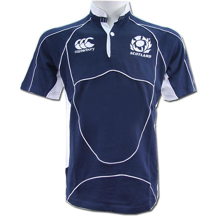 Canterbury Scotland Rugby Jersey Short Sleeve Navy Rugby Shirt Men(China (Mainland))