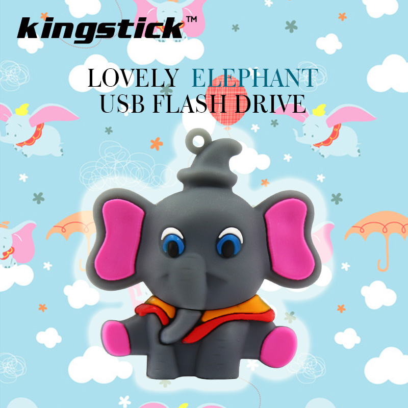 Hot sale Cute elephant usb flash drive 64gb pen drive 32gb 16gb 8gb 4gb cartoon Dumbo memory stick Thumb drive USB 2.0(China (Mainland))