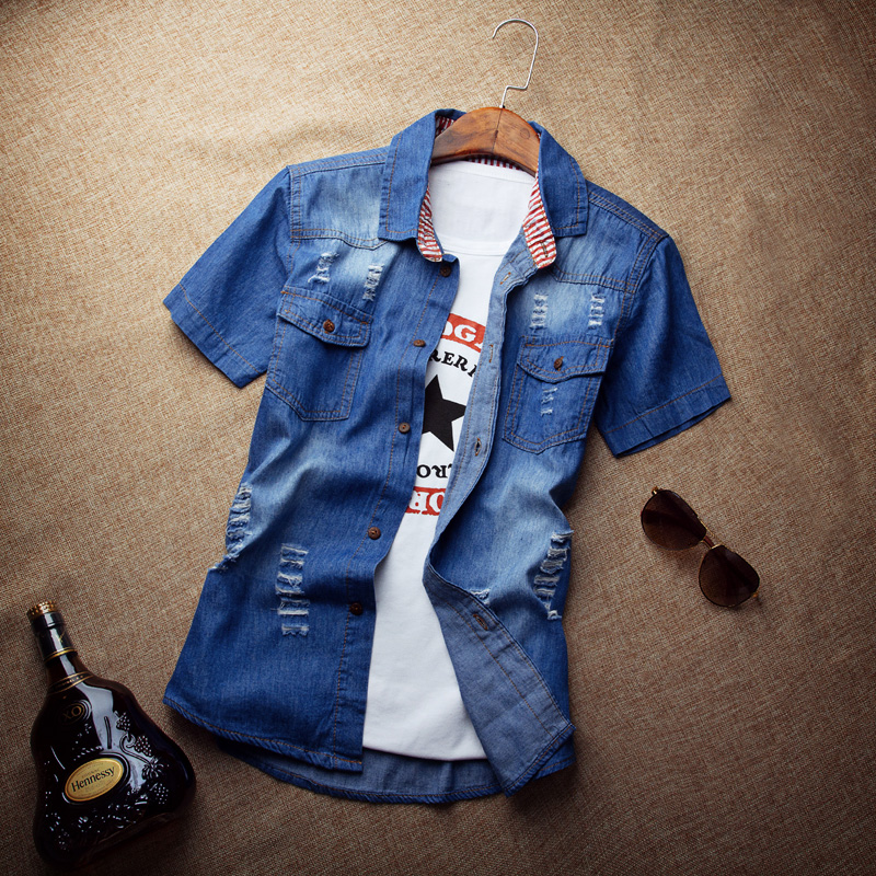 Summer Cotton Jeans Short Sleeved Shirt Metrosexual Summer