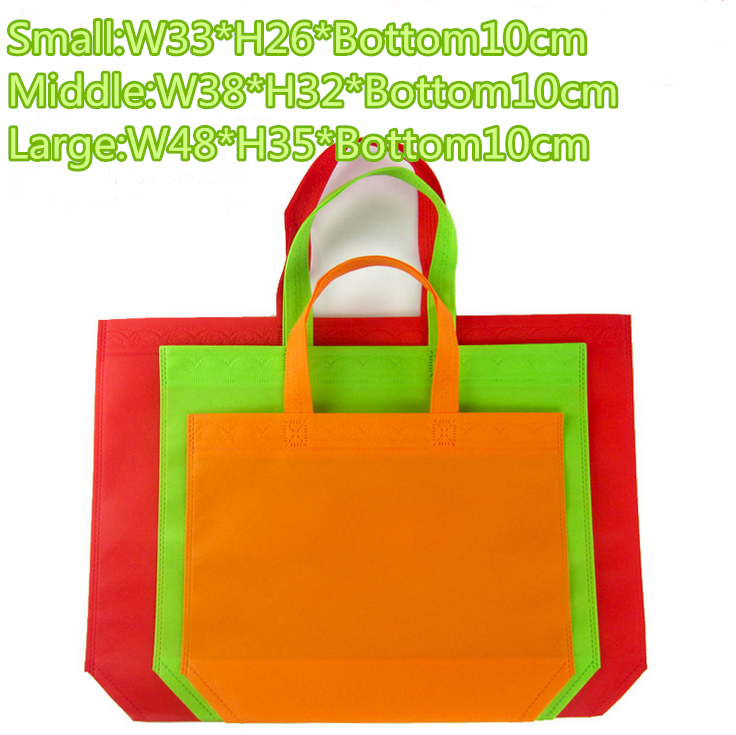 33*26*10cm 50pcs/lot reusable eco-friendly non woven shopping bags customized logo different colors to choose free shipping(China (Mainland))