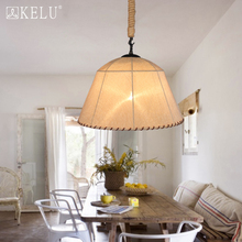 American country style retro pastoral linen dining room Coffee shop Nordic IKEA hand rope Chandelier(China (Mainland))