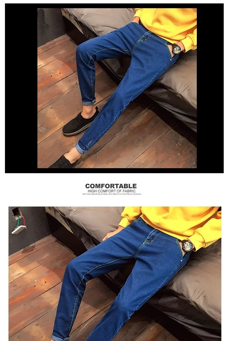 Winter Japanese embroidery jeans young slim feet elastic student leisure male trousers skinny design