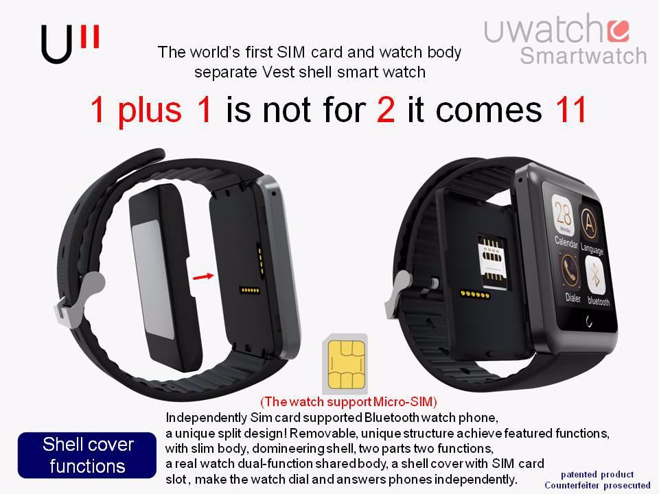 ถูก FineFunสมาร์ทนาฬิกาU11 UนาฬิกาบลูทูธS Mart W Atchที่มีช่องเสียบซิมสมาร์ทสร้อยข้อมือวงสำหรับIOS A Ndroid P hone R Eloj Inteligente